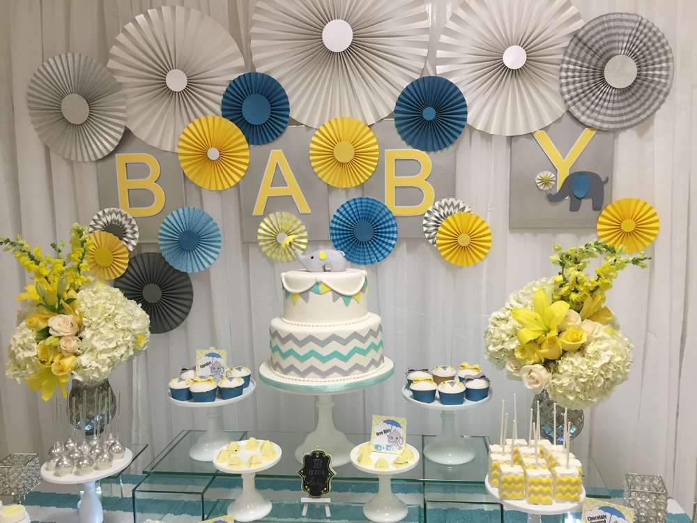 Glam elephant baby shower baby shower ideas themes games for Baby showers decoration