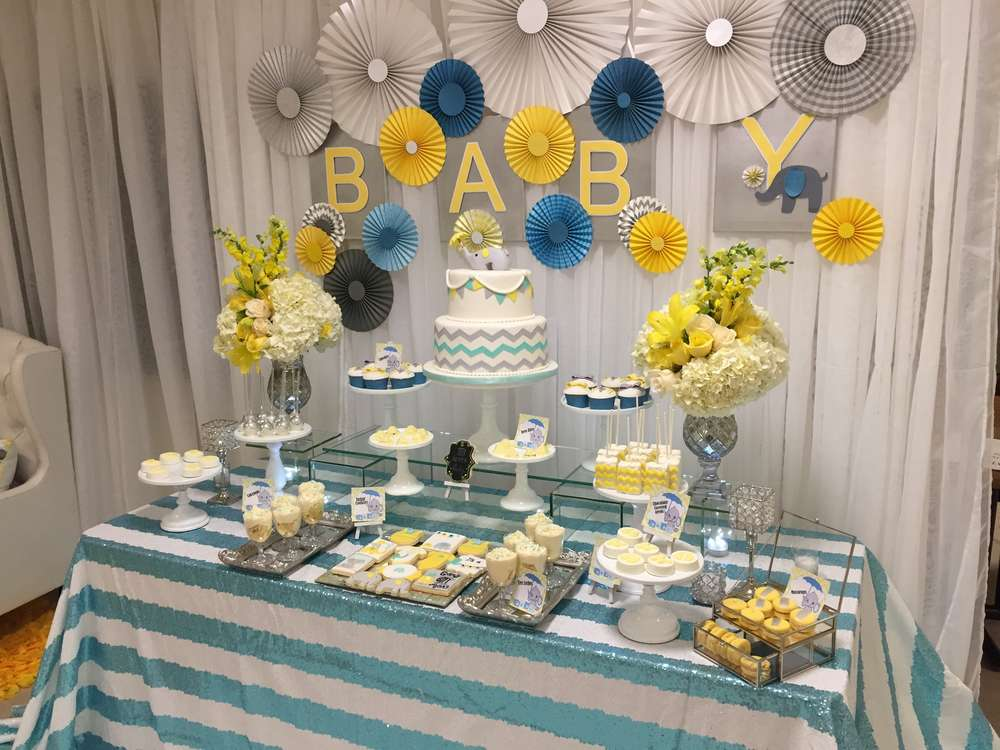 Glam elephant baby shower baby shower ideas themes games for Baby shower dekoration
