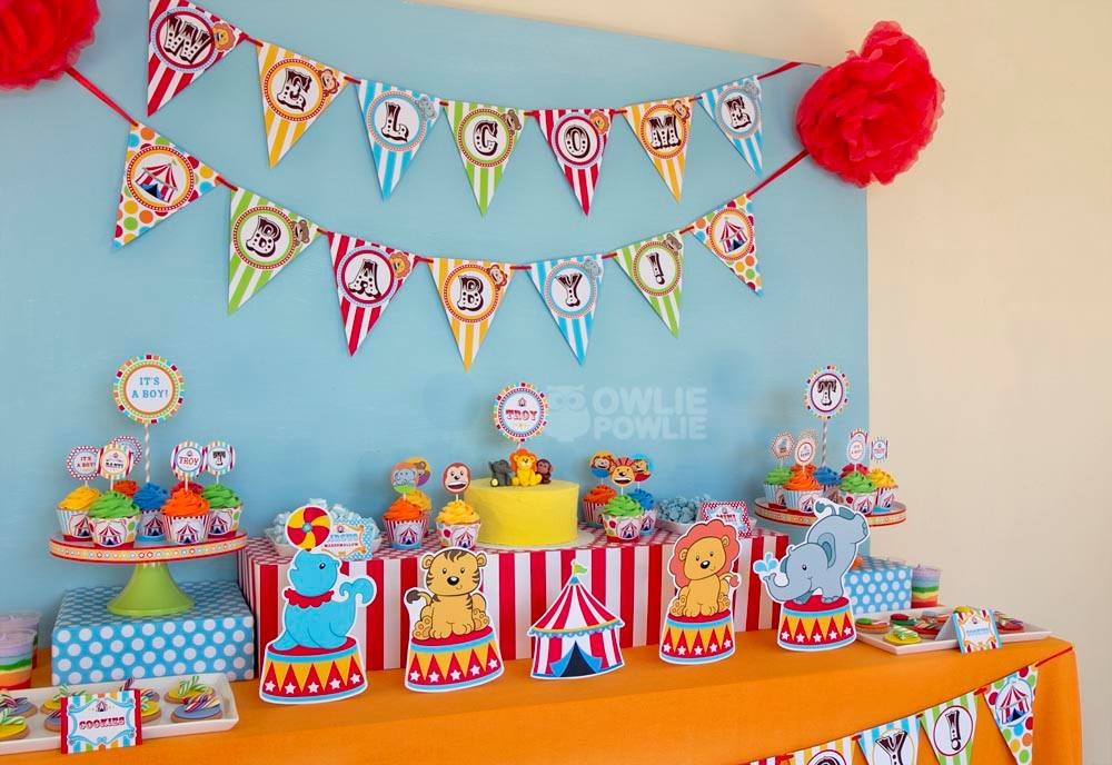 Baby shower circus decorations baby shower favors for Baby shower decoration ideas blog