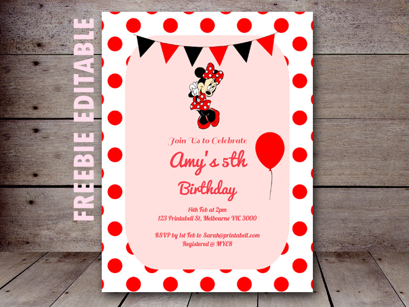 free-editable-minnie-mouse-invitation-printable - baby shower, Birthday invitations