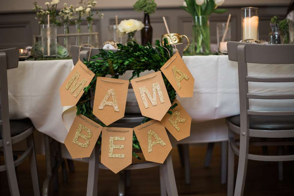 Gold Glitter Mama Bear Banner For Chair Baby Shower Ideas Themes