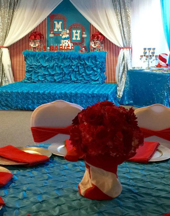 twins-thing-1-and-thing-2-baby-shower-stage guest tables
