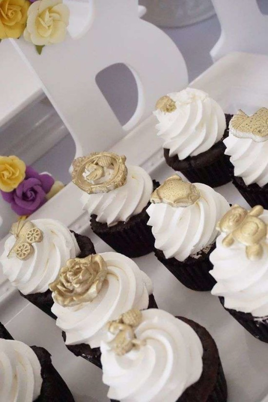 Purple and yellow baby shower ideas