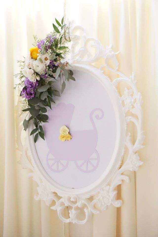 Elegant Yellow And Purple Baby Shower Mirror Art Baby