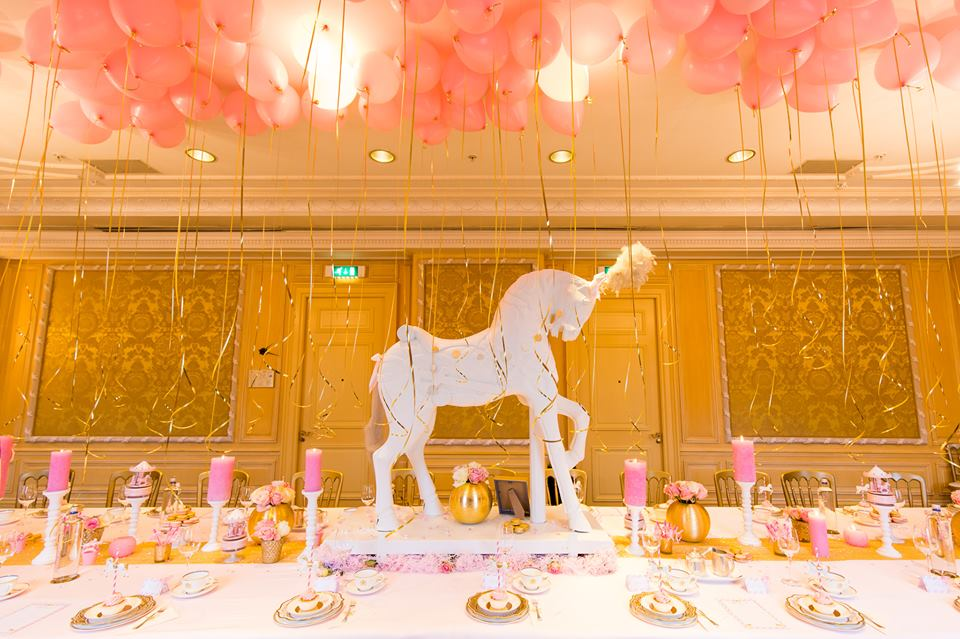 Golden carousel baby shower baby shower ideas themes for Baby shower ceiling decoration ideas