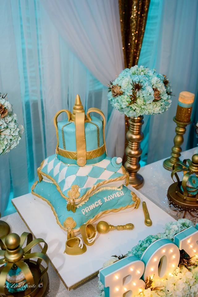 Charming ... Golden Glamorous Prince Baby Shower Tiered Cake ...