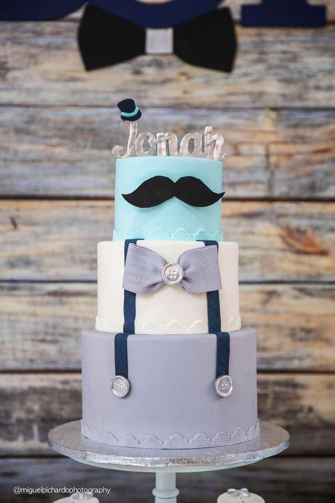 Sophisticated Mustaches And Bows Baby Shower Cake Baby Shower