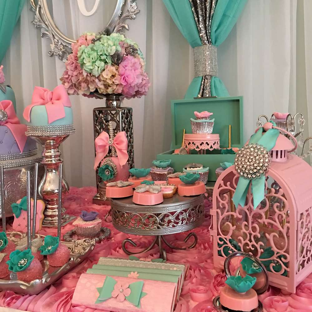 Teal and pink modern chic baby shower baby shower ideas for Baby shower at home decorations