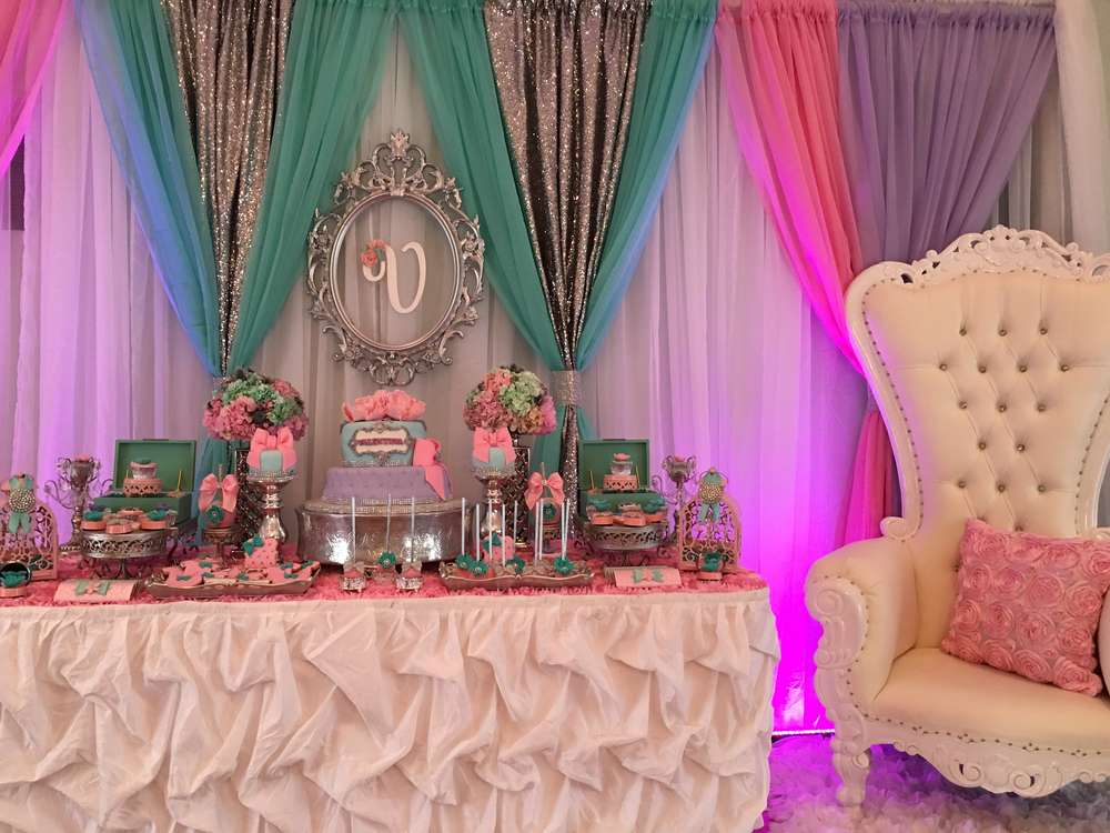 Teal and pink modern chic baby shower baby shower ideas for Baby shower decoration ideas blog