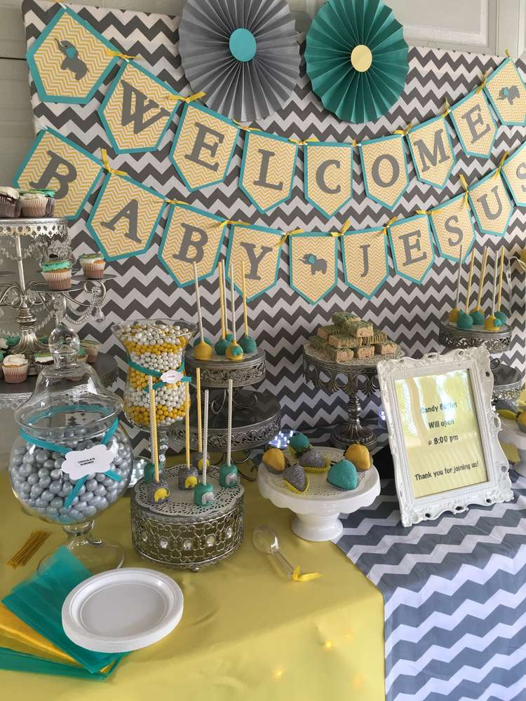 Chevron elephant baby shower baby shower ideas themes games - Baby shower chevron decorations ...