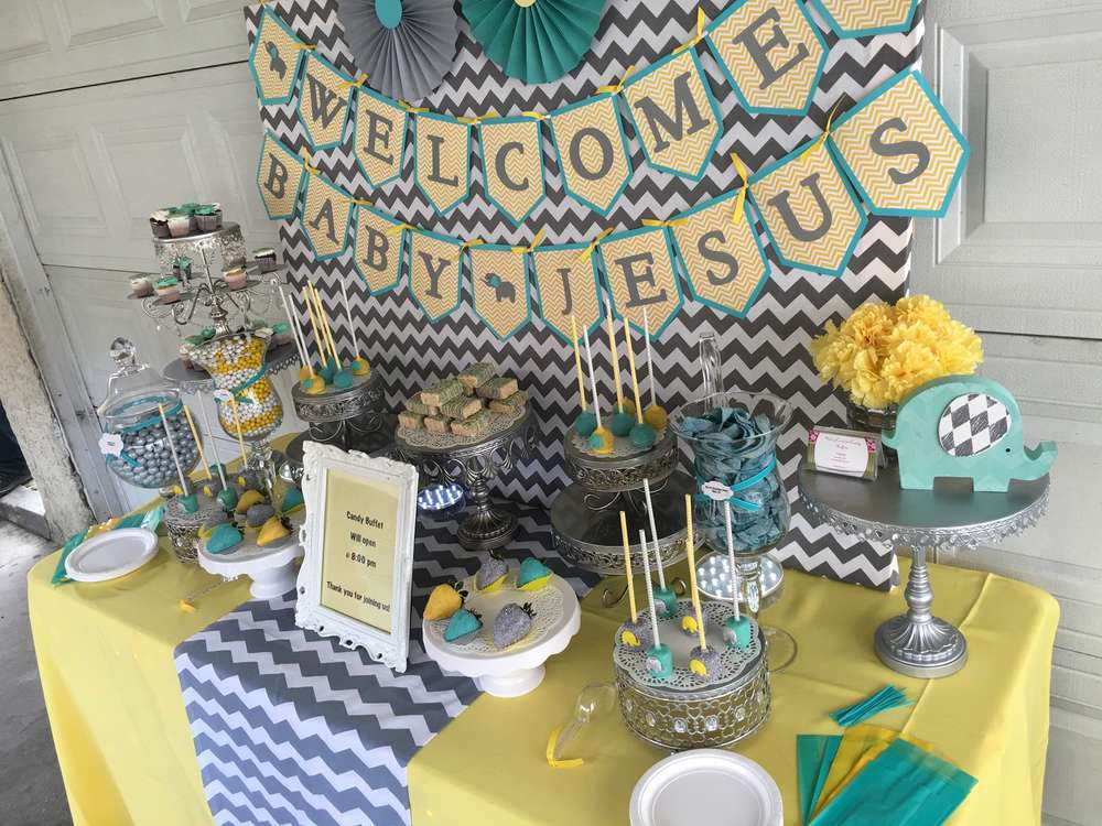 Chevron Elephant Baby Shower Gray Yellow Teal Tones Baby Shower