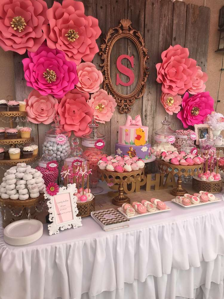 Elegant pink flower baby shower baby shower ideas themes games - Pink baby shower table decorations ...