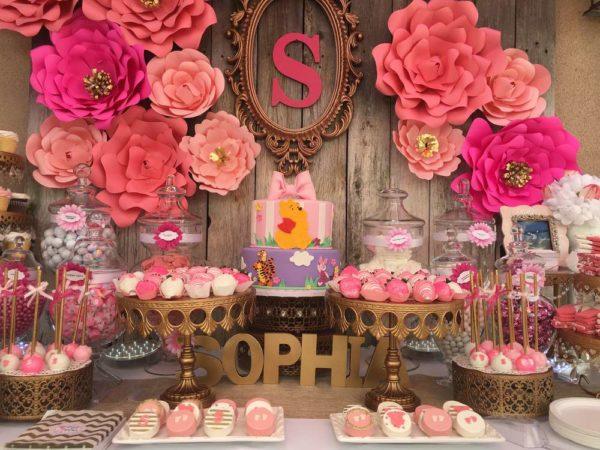Elegant Pink Flower Baby Shower Ideas