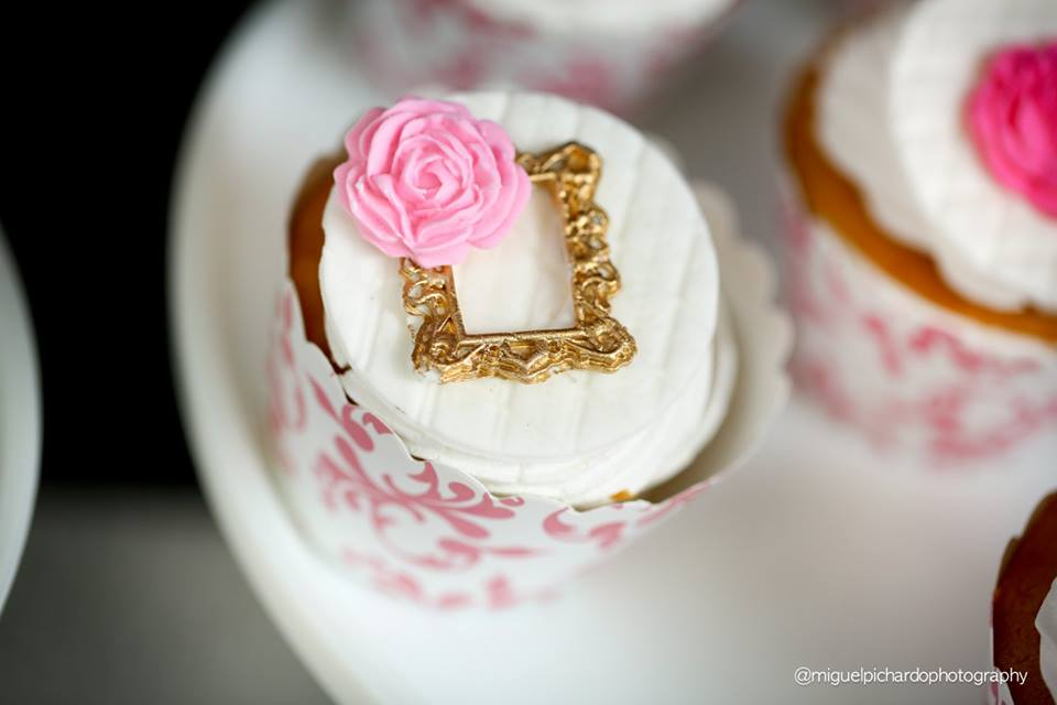 Pink And Black Floral Baby Shower Cupcake Decor Baby Shower Ideas