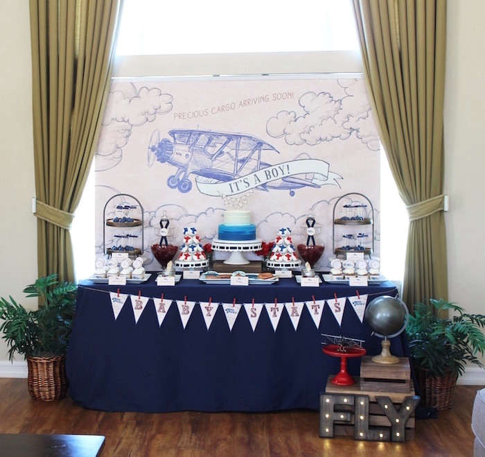 Classic Airplane Baby Shower Baby Shower Ideas Themes