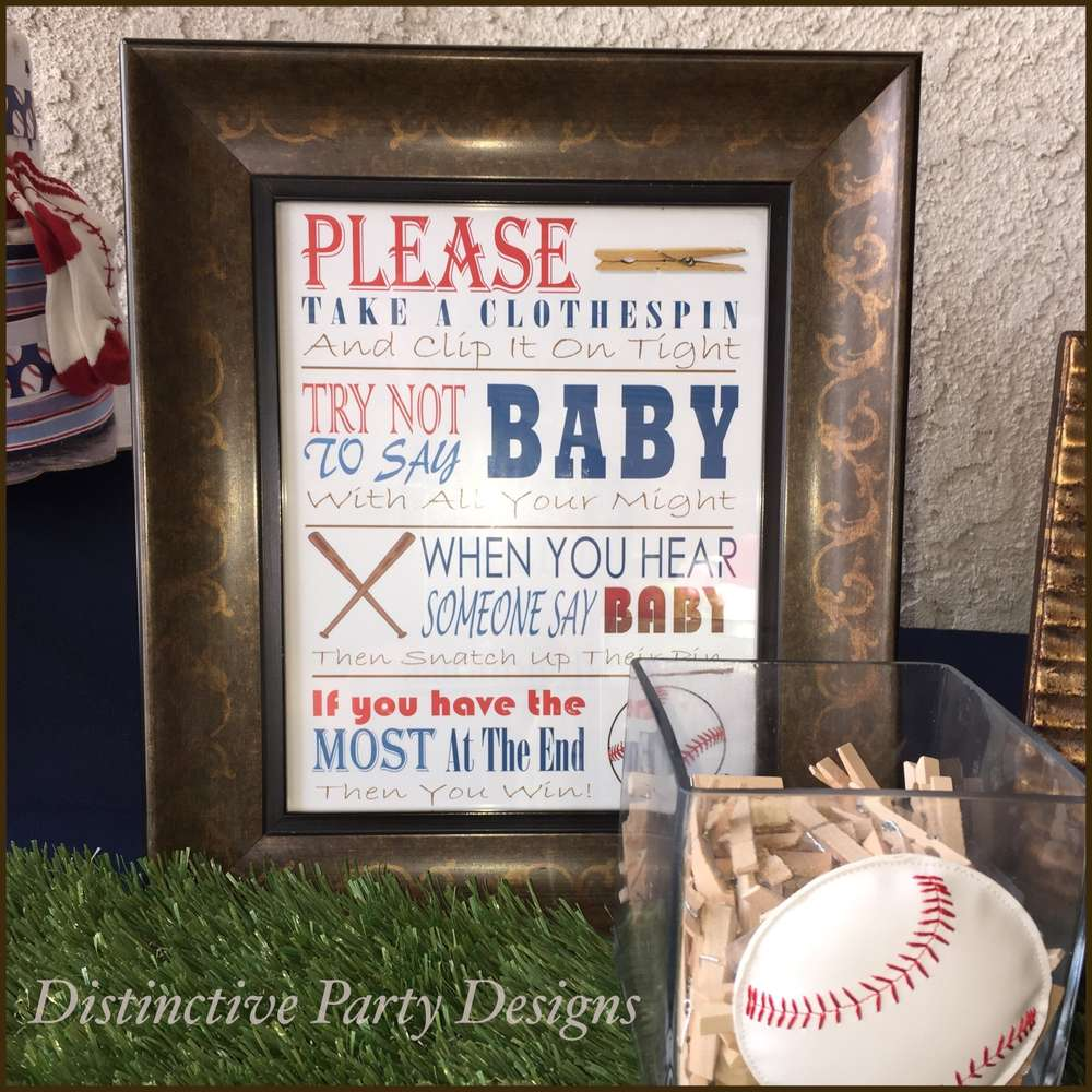 Classic Baseball Baby Shower Clothespin Game