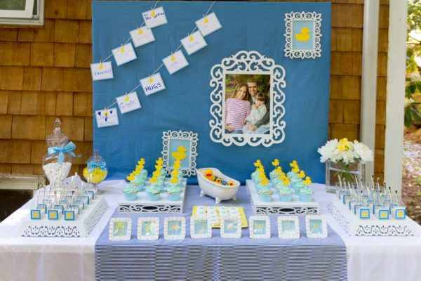 Sweet rubber ducky shower baby shower ideas themes games for Baby shower decoration ideas for twin boys