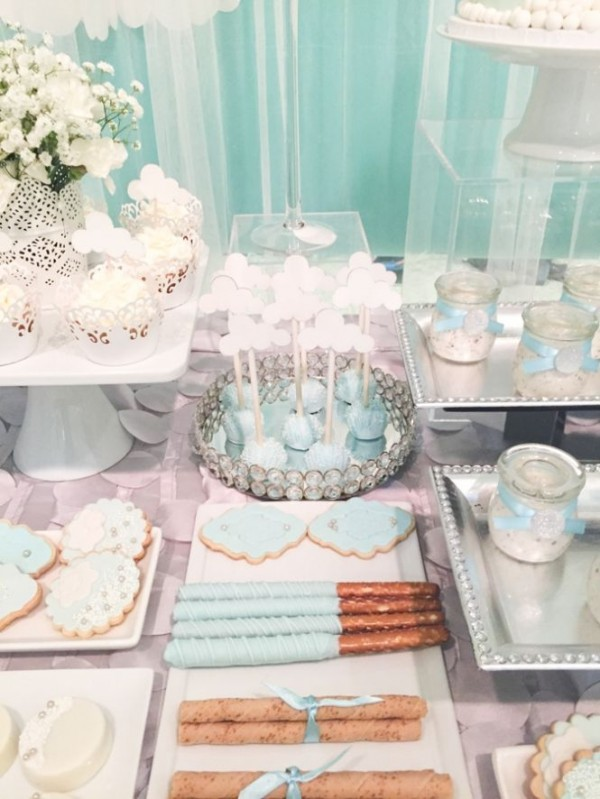 Shimmering Heaven Sent Baby Shower Baby Shower Ideas