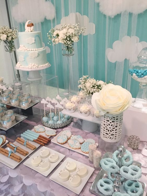 Shimmering heaven sent baby shower baby shower ideas themes games - Popular boy baby shower themes ...