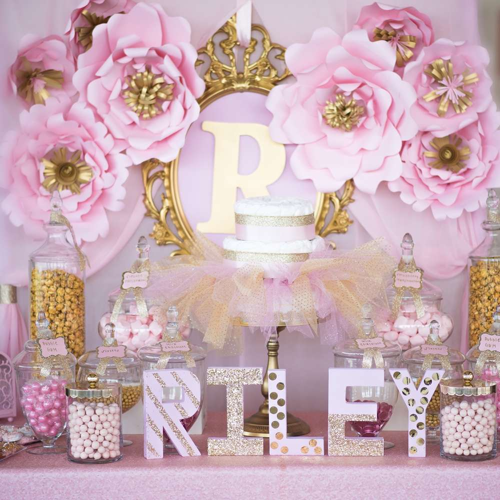 Shimmering pink and gold baby shower baby shower ideas themes games - Pink baby shower table decorations ...