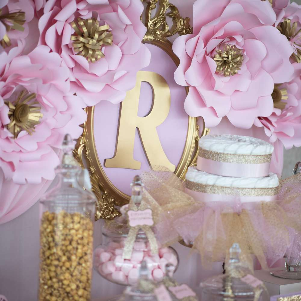 Shimmering pink and gold baby shower baby shower ideas for Baby shower flower decoration ideas