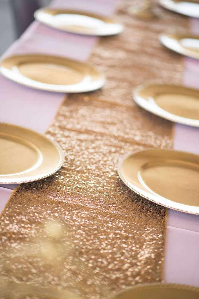 Shimmering Pink And Gold Baby Shower Place Settings Baby Shower