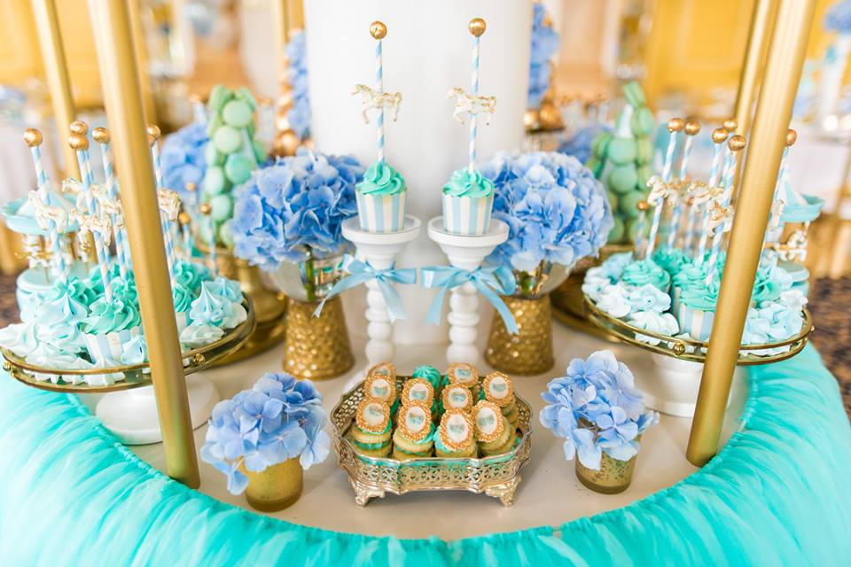 Blue And Gold Carousel Baby Shower Baby Shower Ideas