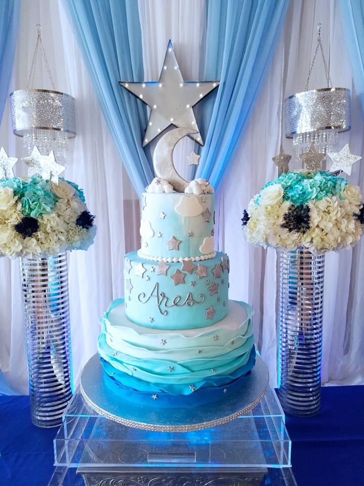 Starry-Night-Baby-Shower-Cake - Baby Shower Ideas - Themes - Games