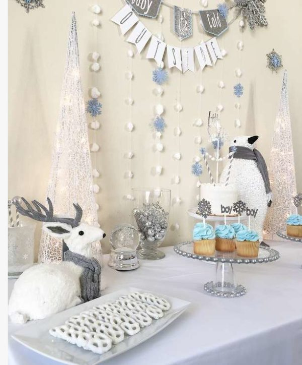 Silver And White Snowy Baby Shower