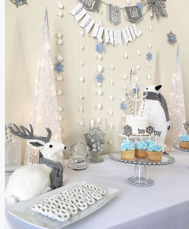 Silver And White Snowy Baby Shower Pretzels Baby Shower Ideas