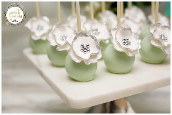 Flowery Green Mint And White Baby Shower - Baby Shower ...