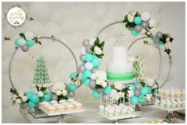 Baby Shower Themes Green ~ Flowery green mint and white baby shower baby shower ideas