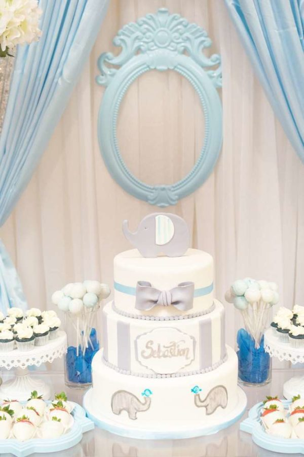 Baby Shower Backdrop Hire ~ Blue and white elephant themed baby shower
