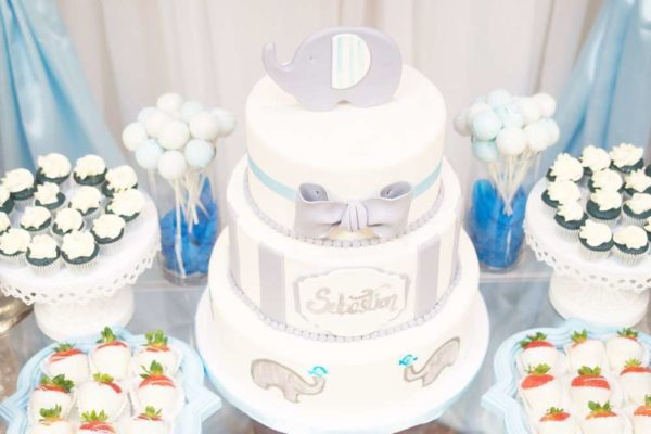 blue-and-white-elephant-themed-baby-shower-grey-cake