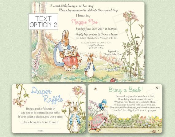 Peter Rabbit Baby Shower Invitation Beatrix Potter