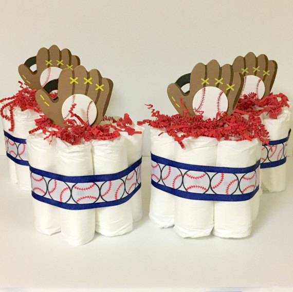 High Quality Baseball Baby Shower Diaper Cake Centerpiece