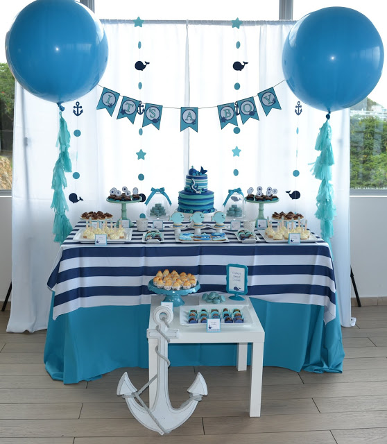 nautical-whale-baby-shower-dessert-table