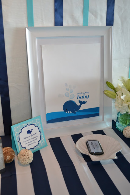 nautical-whale-baby-shower-welcome-sign