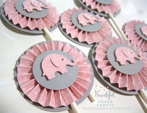 Elephant baby shower decorations and party favors baby shower elephant baby shower cupcake toppers negle Image collections