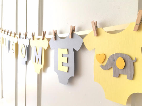 Elephant baby shower decorations and party favors baby for Welcome home baby shower decorations