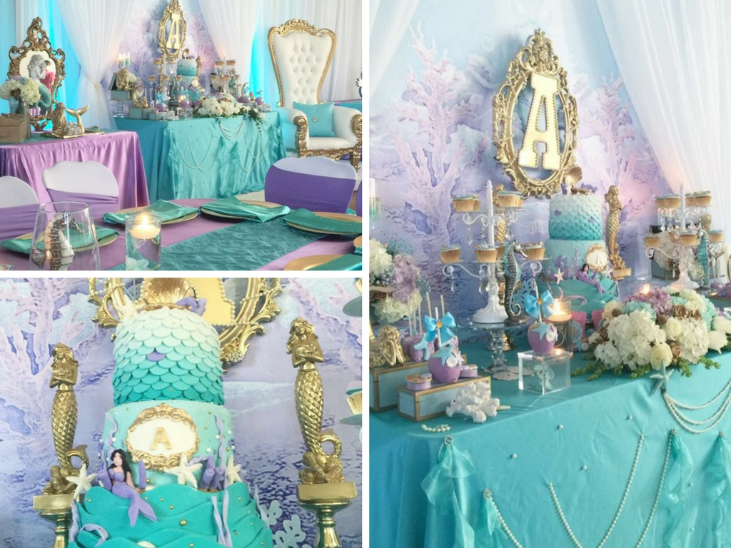 Beautiful golden mermaid baby shower baby shower ideas for Baby shower decoration online