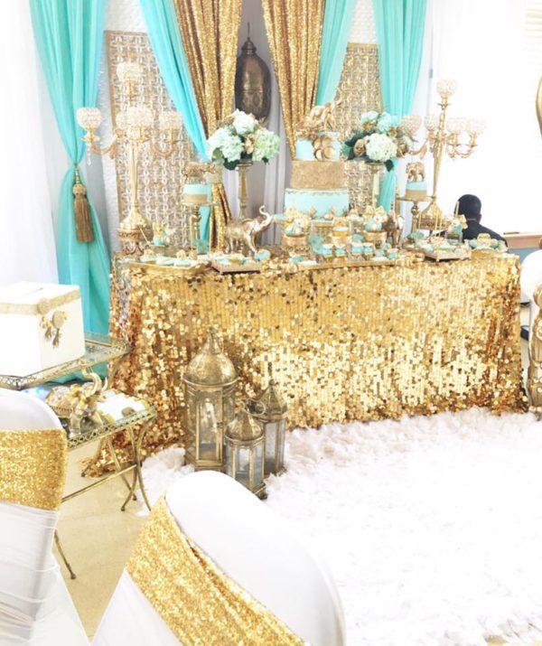 regal-elephant-shower-golden-table