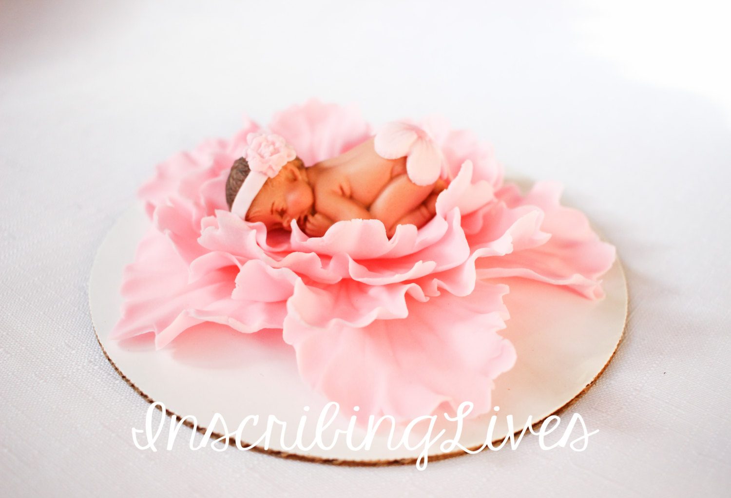 Baby Shower Cake Topper Girl Pink Peony