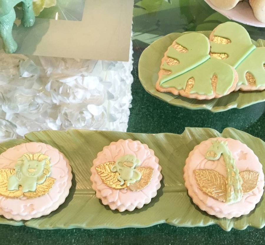 mint-green-jungle-baby-shower-pink-frosted-cookies