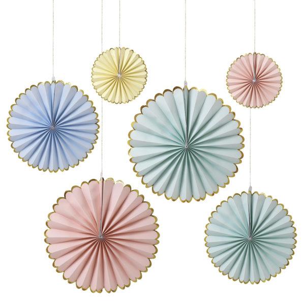 pastel-gold-foil-paper-fans-paper-pinwheels-paper-decorations-gold-trim