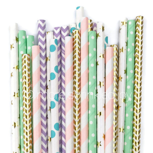 pretty-paper-straws-pastel-gold-chevron-stars-colored-straws