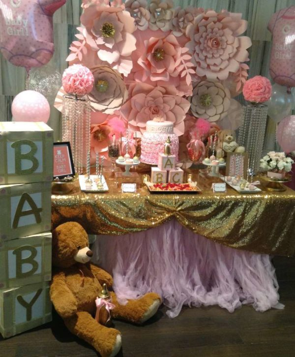 Pretty Pink And Gold Baby Shower Baby Shower Ideas