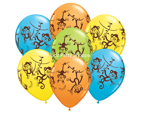 Monkey themed baby shower decorations and party favors baby shower ideas themes games - Monkey balloons for baby shower ...