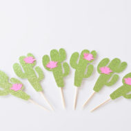 cactus-flower-cupcake-toppers-glitter-green-pink-mexican-party-decor