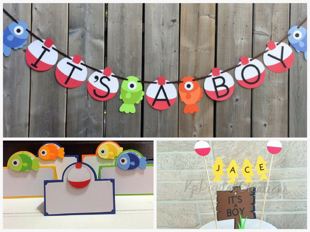 Fishing themed baby shower decorations and party favors for Fishing baby shower